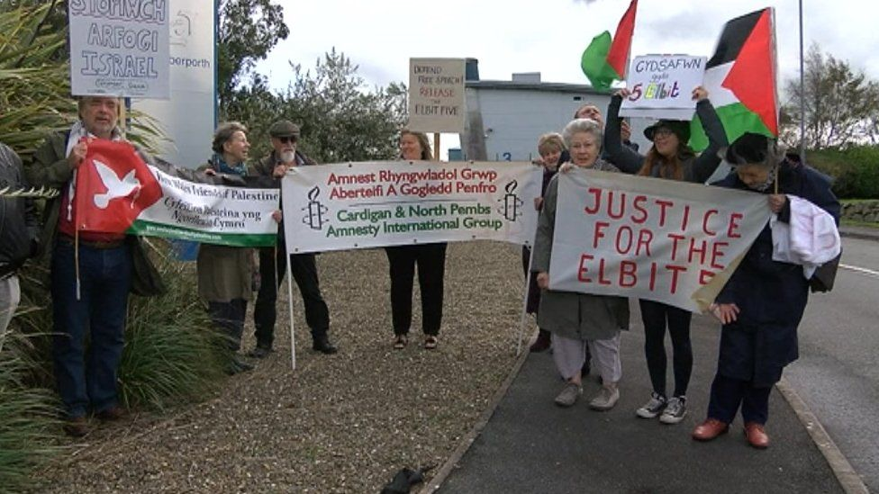 A demonstration outside Aberporth airport