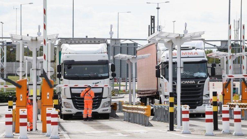 Trucks at a customs post