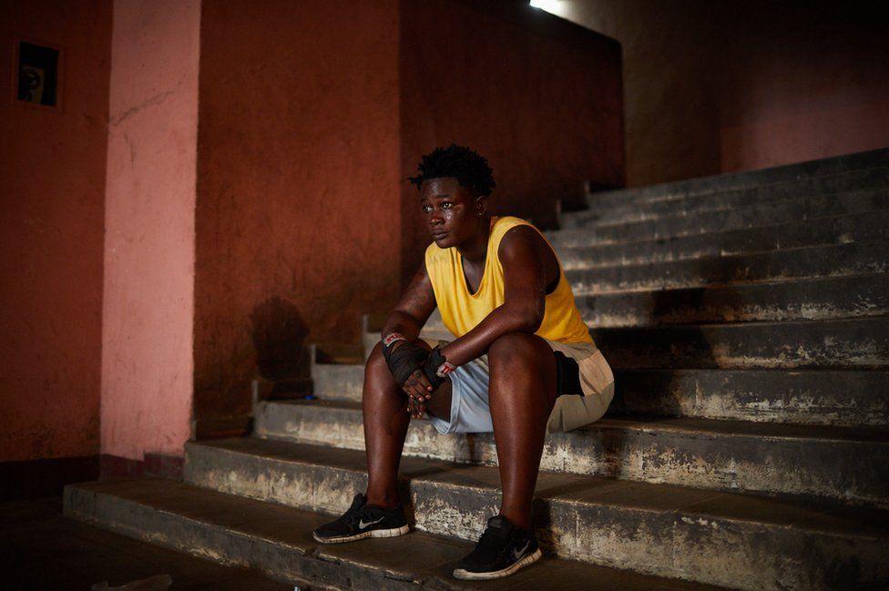 Jorbelle Malewu photographed in the Stade Tata Raphael