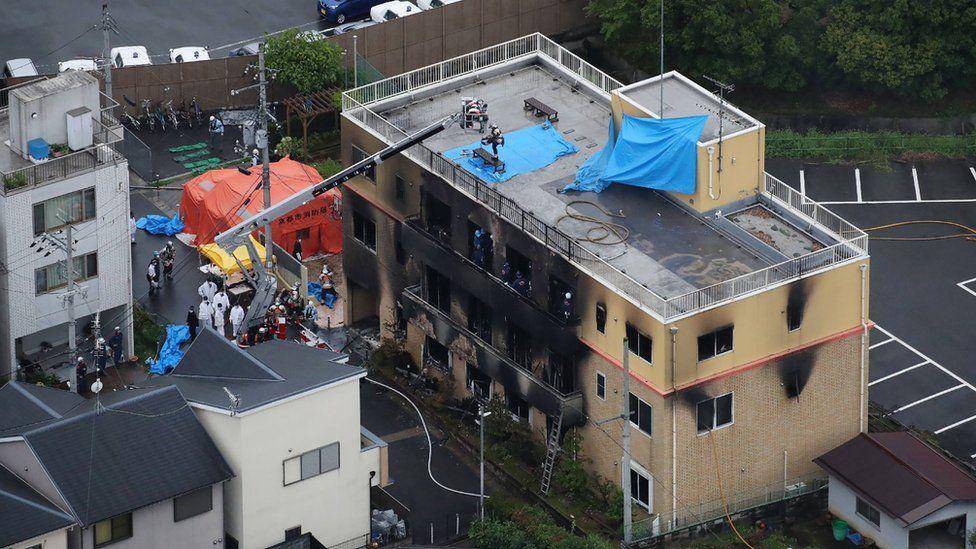 burned building