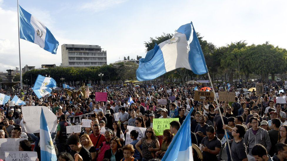 Protests in Guatemala City on Saturday, calling for justice and the president's resignation