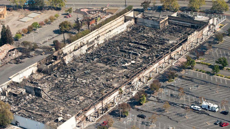 A K-mart supermarket was burned out in the Santa Rosa blaze