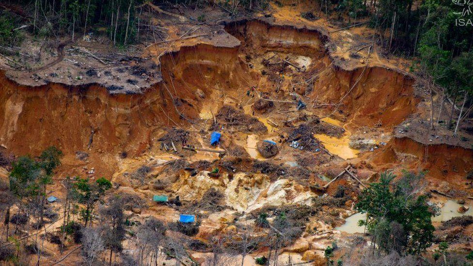 Illegal mining site in Brazil