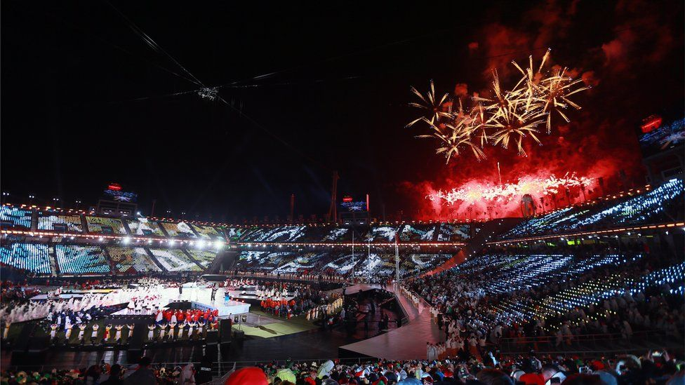 Fireworks go off over the Pyeongchang Olympic Stadium at the closing ceremony for the 2018 Winter Paralympic Games
