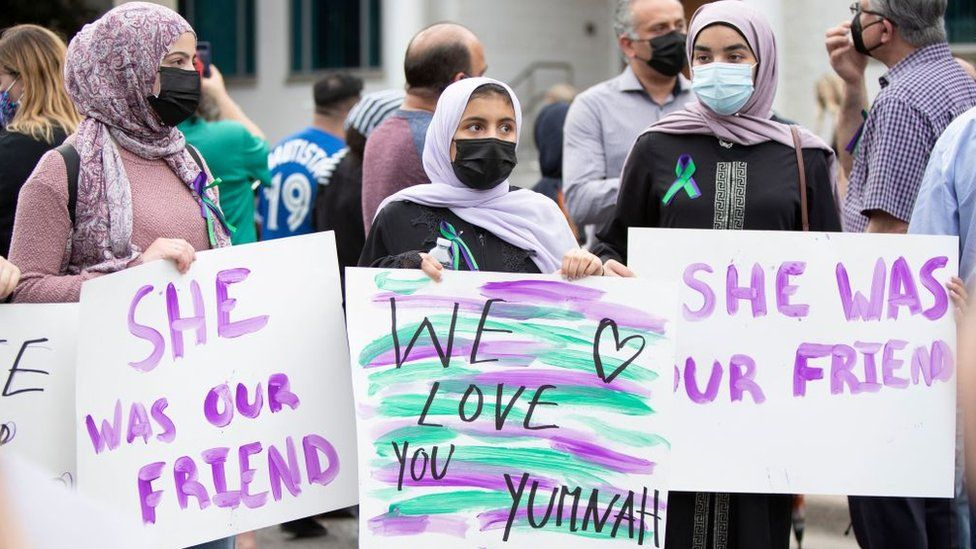 Friends of Yumna Afzaal show their support at a vigil for her and her family