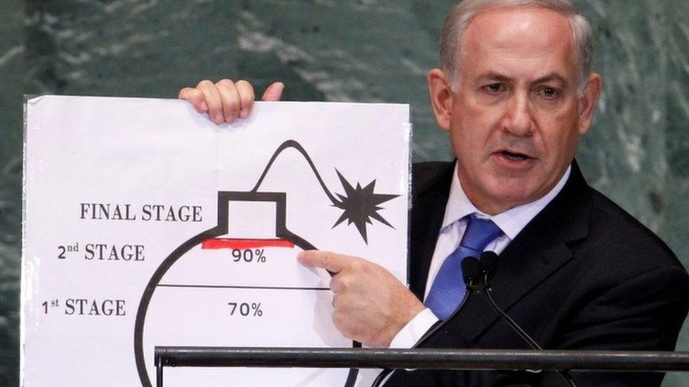 Israeli Prime Minister Benjamin Netanyahu points to a red line he drew on the graphic of a bomb used to represent Iran's uranium enrichment activities during a speech at the UN General Assembly in New York (27 September 2012)