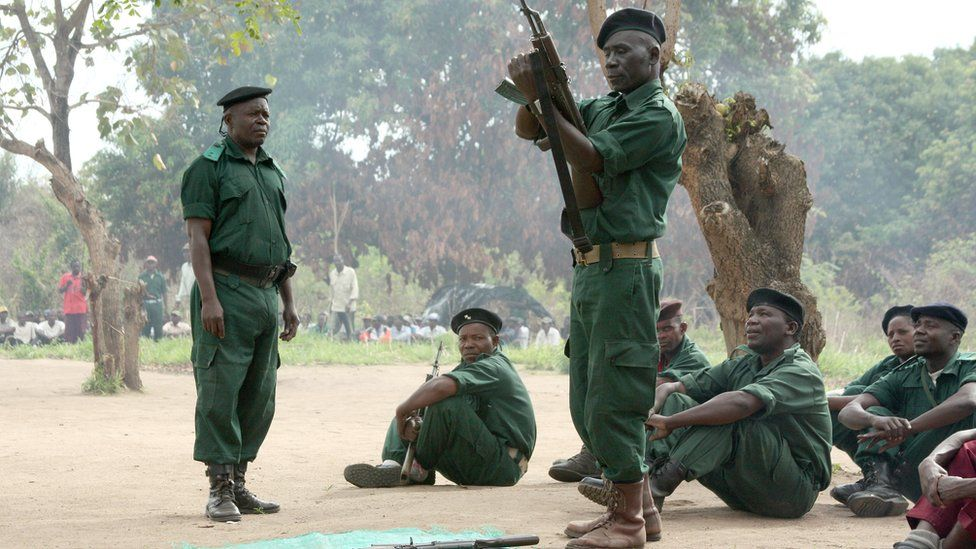 Fighters of former Mozambican rebel movement Renamo receive military training in November 2012 in Gorongosa's mountains, Mozambique.