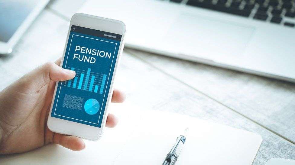 A smartphone showing a pension fund