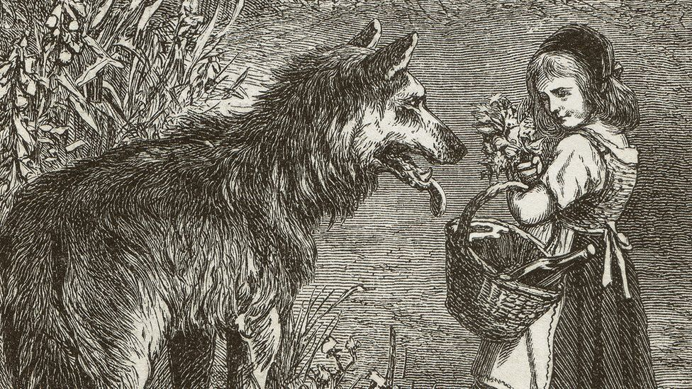 Little Red Riding Hood, wood engraving, published in 1873 - stock illustration