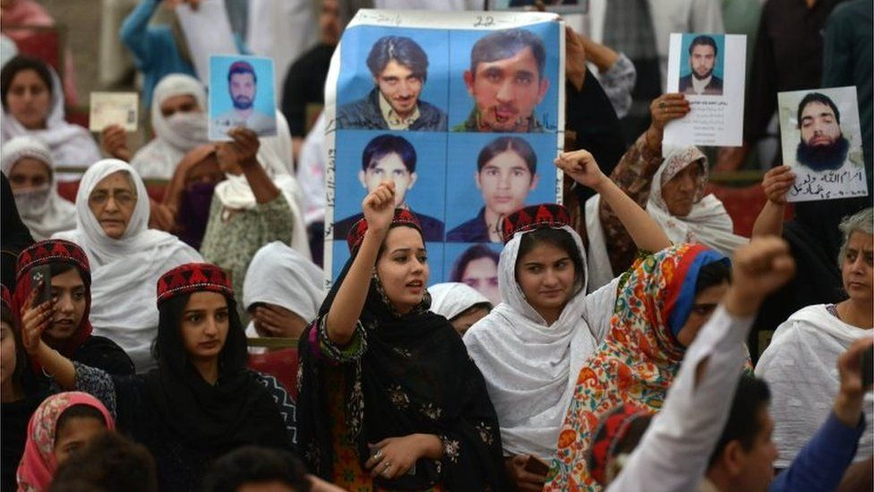 Demonstrators of Pashtun Protection Movement gather at a public rally in Peshawar on April 8, 2018.