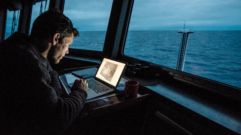 scientist working on a laptop at dusk
