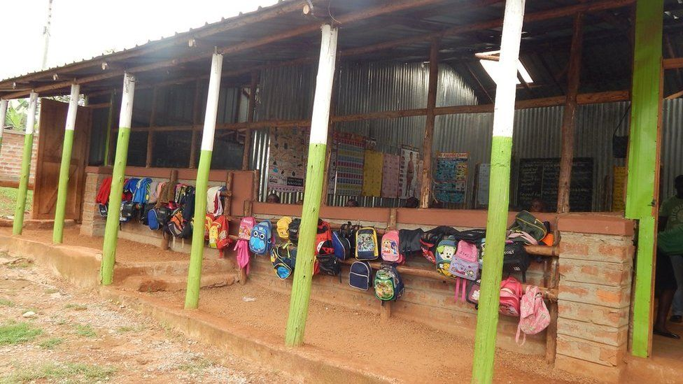 A Bridge International classroom, which lacks windows in Uganda
