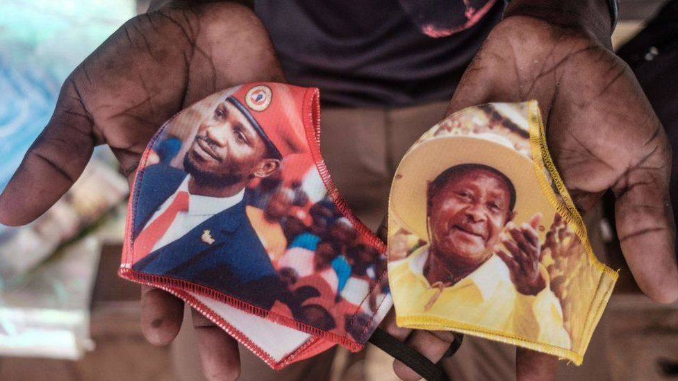 Face masks with images of Bobi Wine and Yoweri Museveni