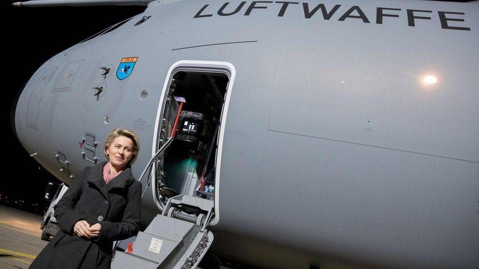 German Defence Minister Ursula von der Leyen by the plane