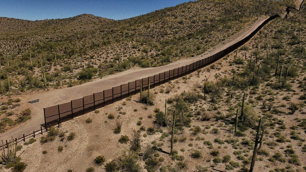 A border fence between Mexico and the US state of Arizona
