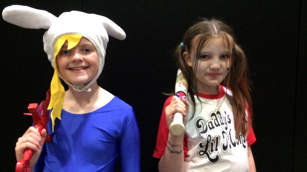 Phoebe and Martha - as Fionna from TV animation Adventure Time and Harley Quinn from the film Suicide Squad