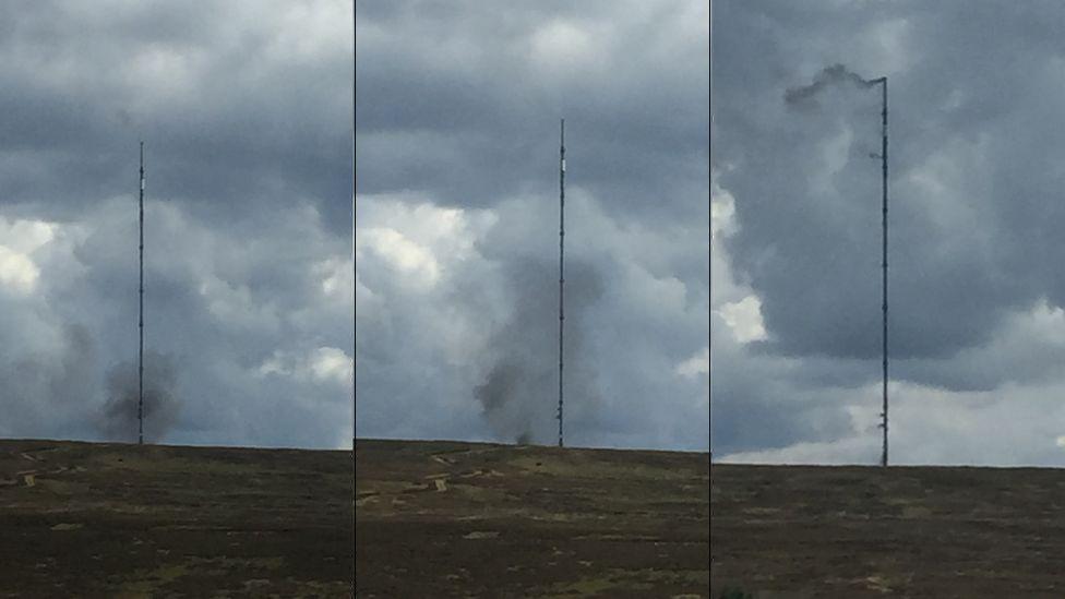 The Bilsdale mast on fire