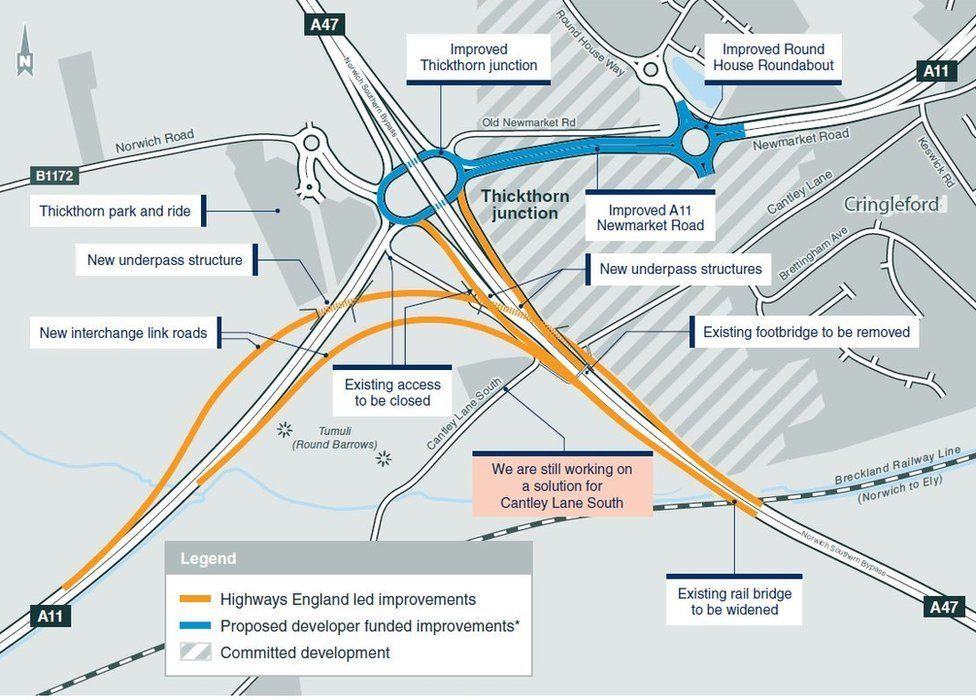 Map of improvement to A47/A11
