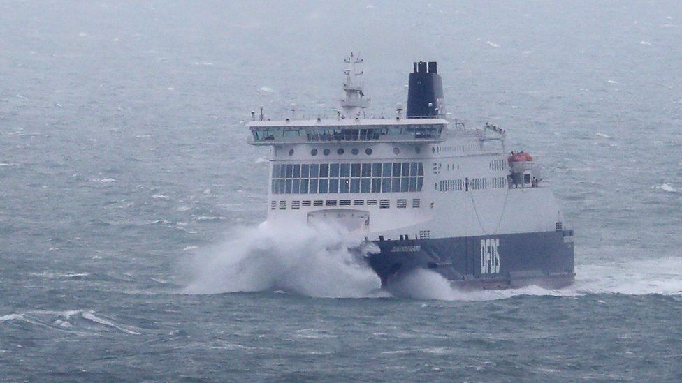 A DFDS ferry arrives in bad weather at the Port of Dover in Kent, as winds of up to 70mph are expected along the coast during the next 36 hours along with up to 90mm of rain as Storm Francis hit the UK.