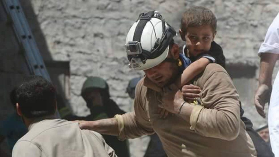A White Helmet in action