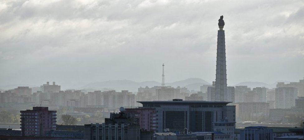 Juche Tower rises over Pyongyang, North Korea (file image)
