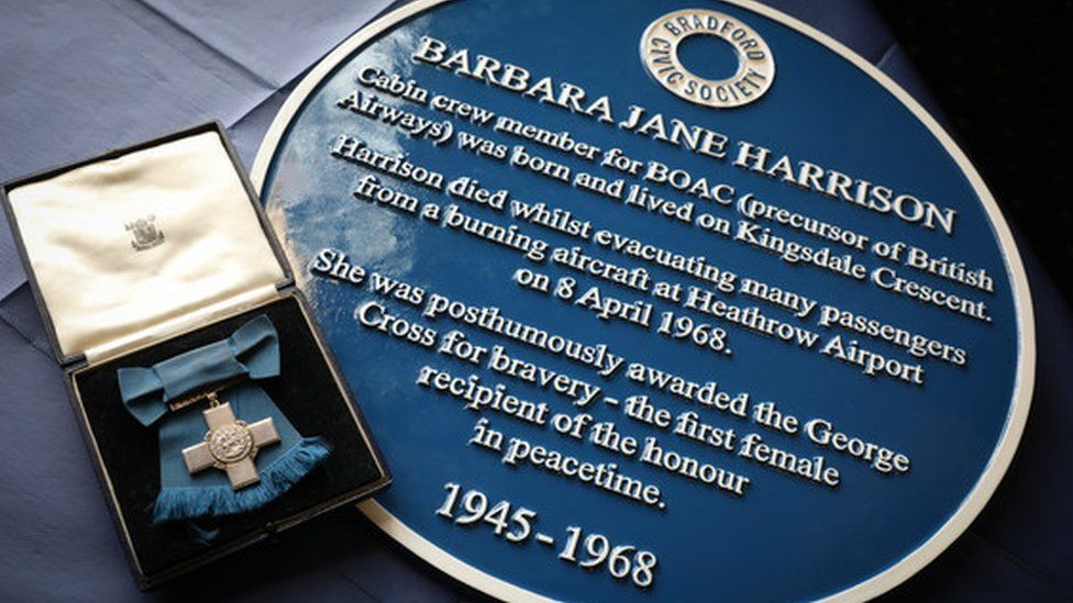 Ms Harrison's posthumous George Cross and blue plaque