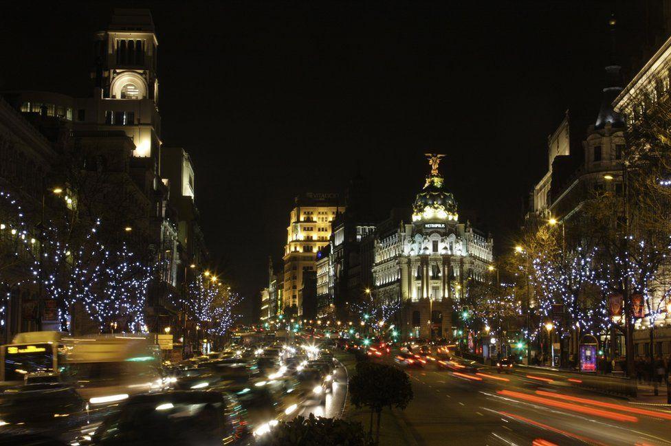 An illuminated city centre
