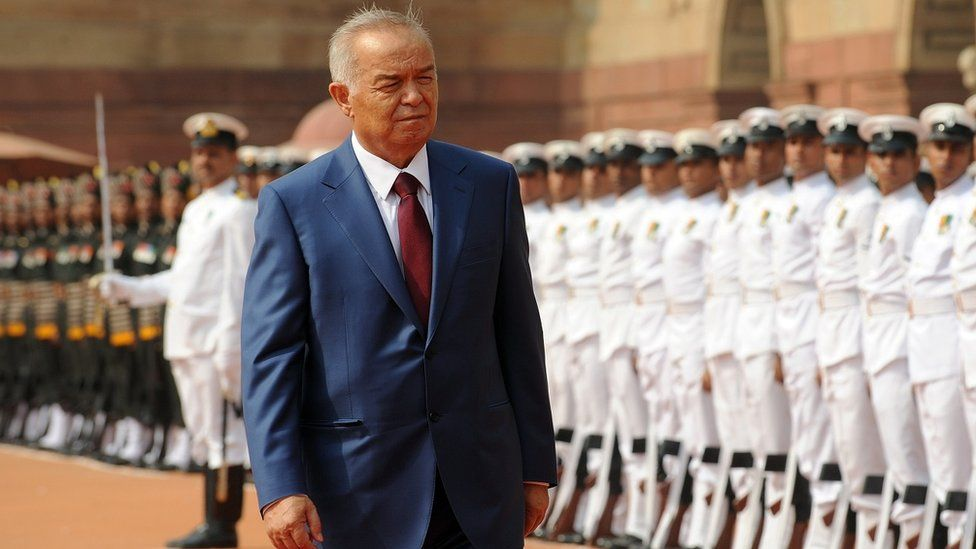 Karimov inspecting a guard of honour in 2011