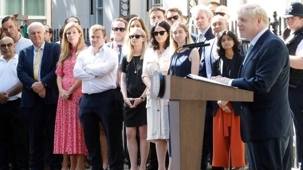 Carrie Symonds watching Boris Johnson