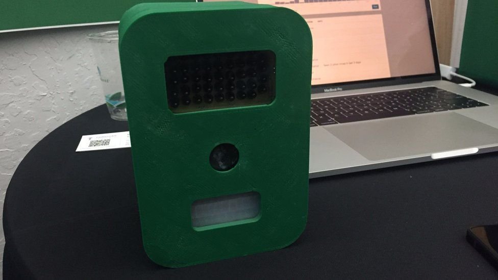 The sensor device on display at Y Combinator's demo day
