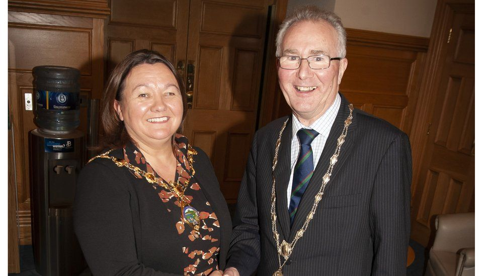 The Mayor of Derry City and Strabane District Council, Cllr Michaela Boyle congratulating Richard Doherty, the new High Sheriff of Derry City, at his installation in the Mayor's Parlour, Guildhall
