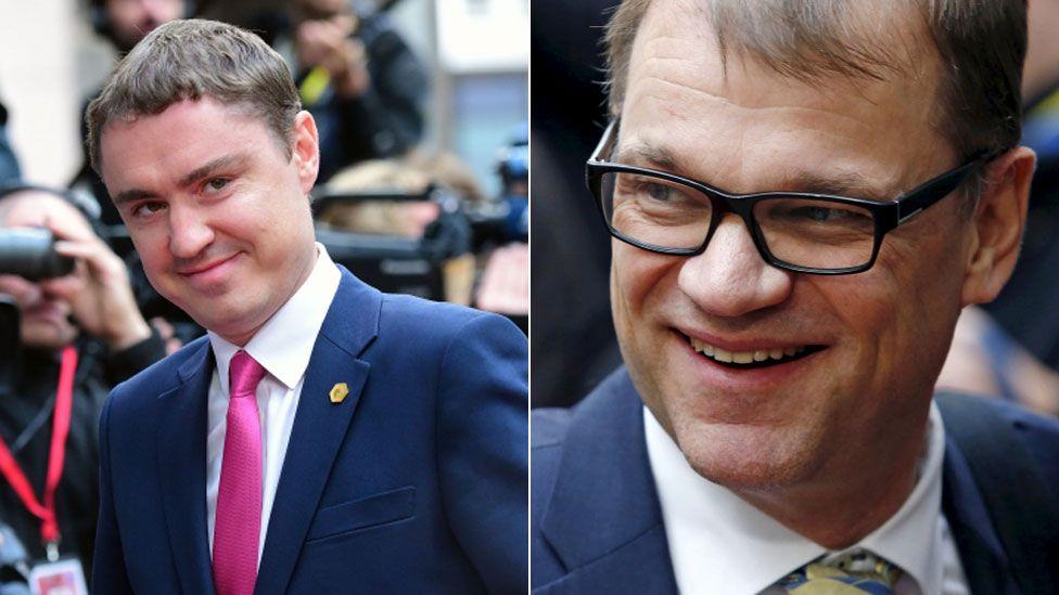 Estonian Prime Minister Taavi Roivas (L) and Finnish Prime Minister Juha Sipila