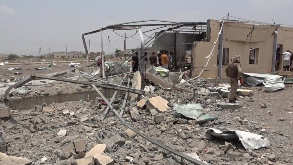 Aftermath of suspected drone and missile strike on al-Anad airbase in Lahj province, Yemen (29 August 2021)