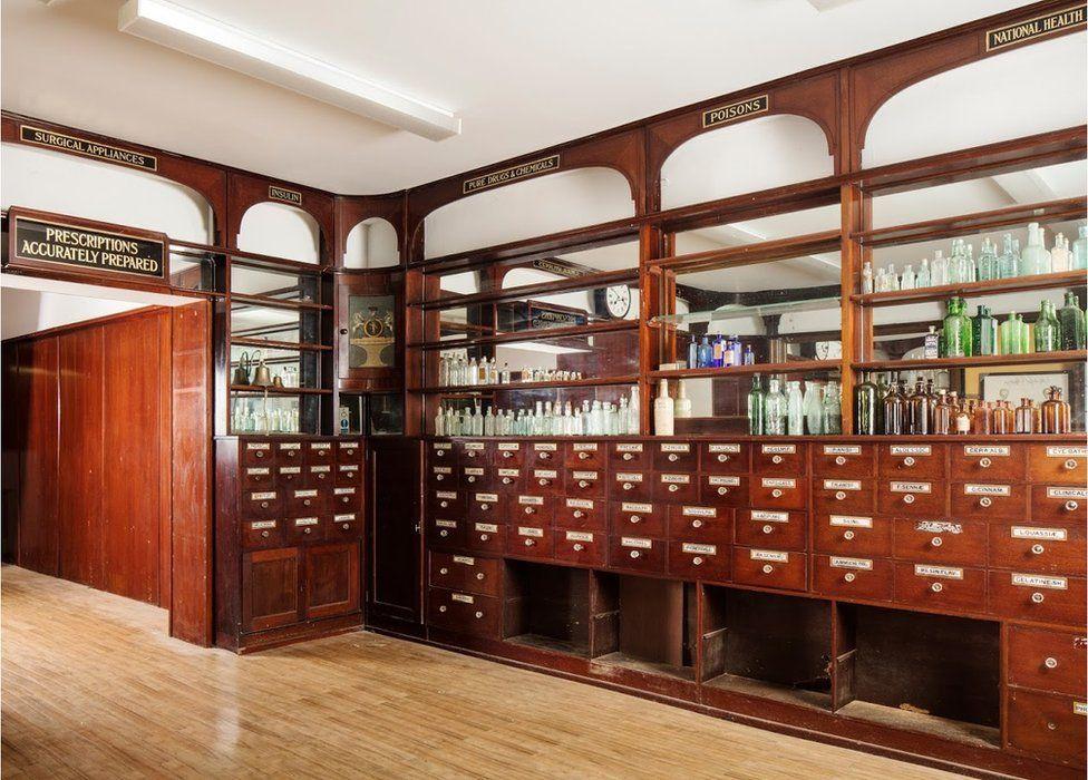 Inside the former chemist shop