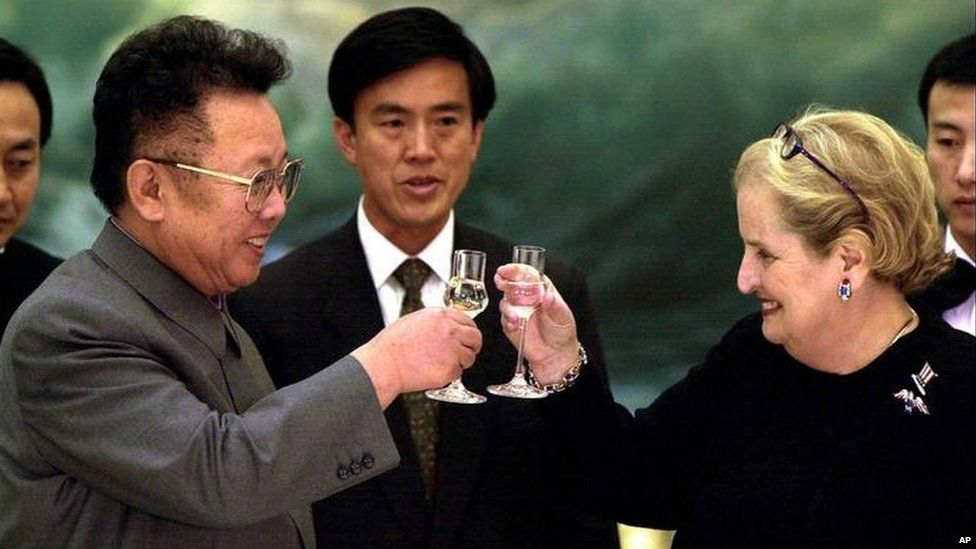 Former North Korean leader Kim Jong-Il, left, toasts US Secretary of State Madeleine Albright at a dinner in Pyongyang in 2000.