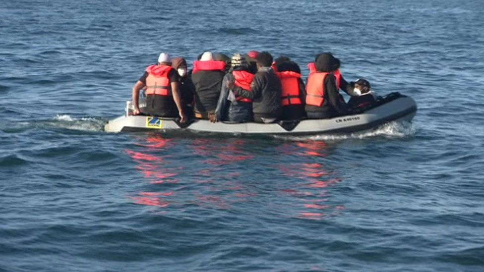 Migrants in small boat in English Channel