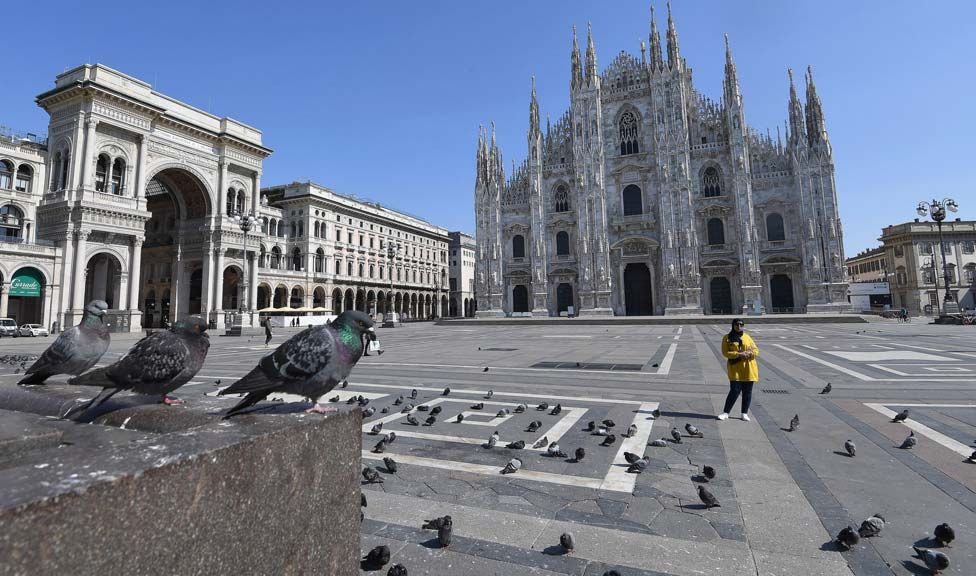 The deserted Piazza Duomo in Milan, Italy