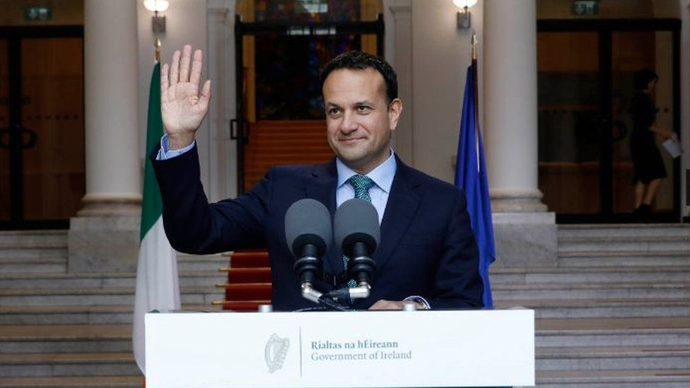 Handout photo of Taoiseach Leo Varadkar on the steps of Government Buildings Dublin, addressing the public on the state of the coronavirus lockdown in Ireland on 1 May