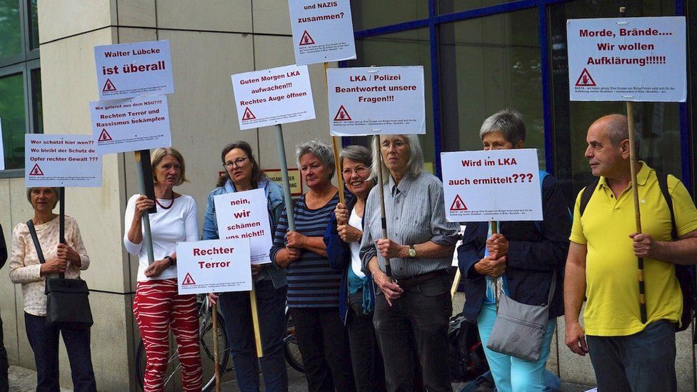 Christiane Schott's protest outside Berlin police headquarters
