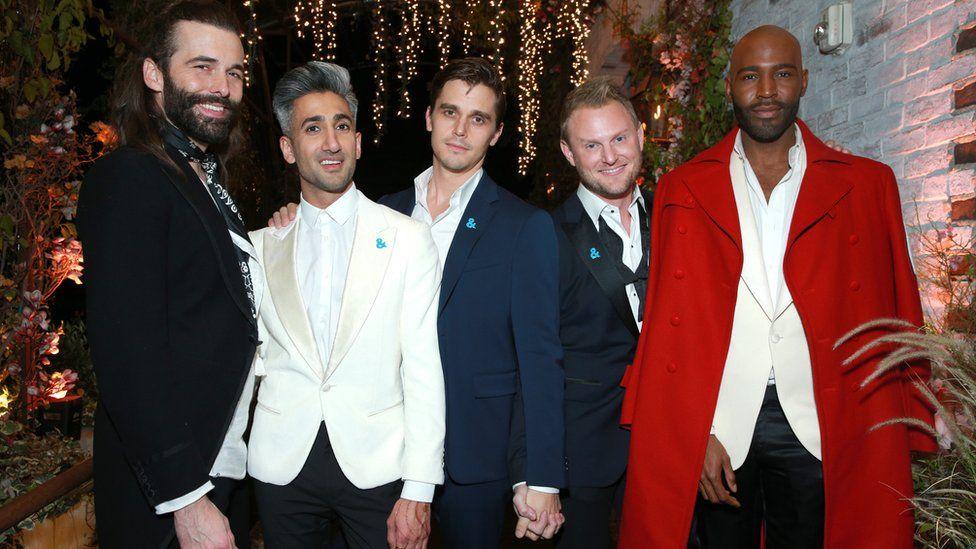 The cast of the new Queer Eye: Jonathan Van Ness, Tan France, Antoni Porowski, Bobby Berk and Karamo Brown