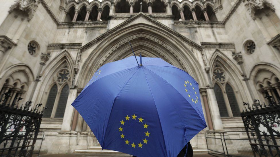 Person holding EU umbrella outside the High Court in London