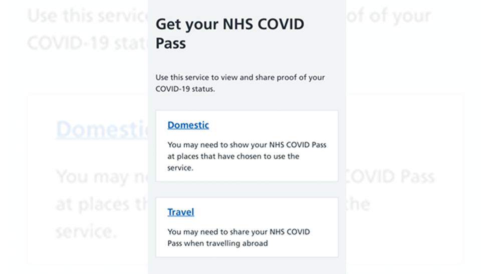 NHS Covid pass screengrab