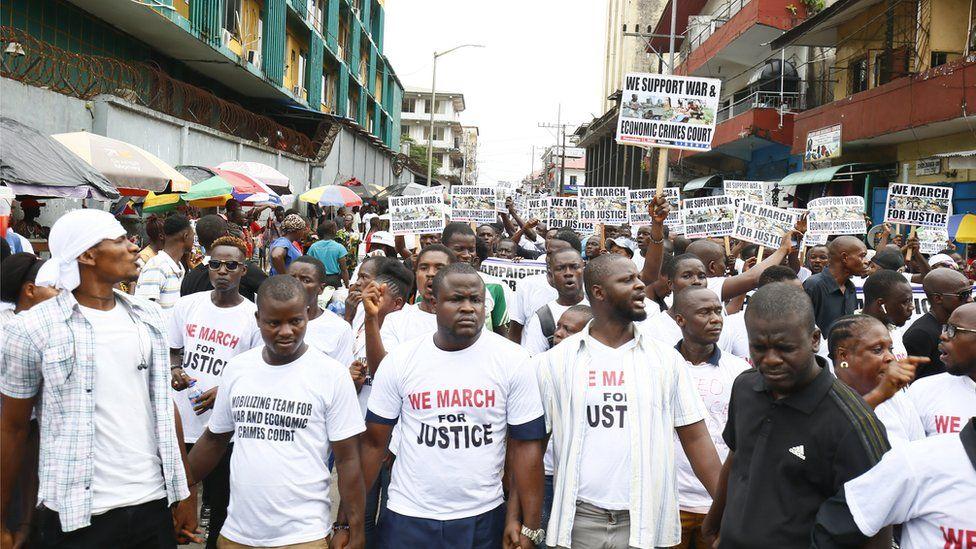 Protesters demanding a War and Economic Crimes Court in Monrovia, Liberia - Monday 12 November 2018