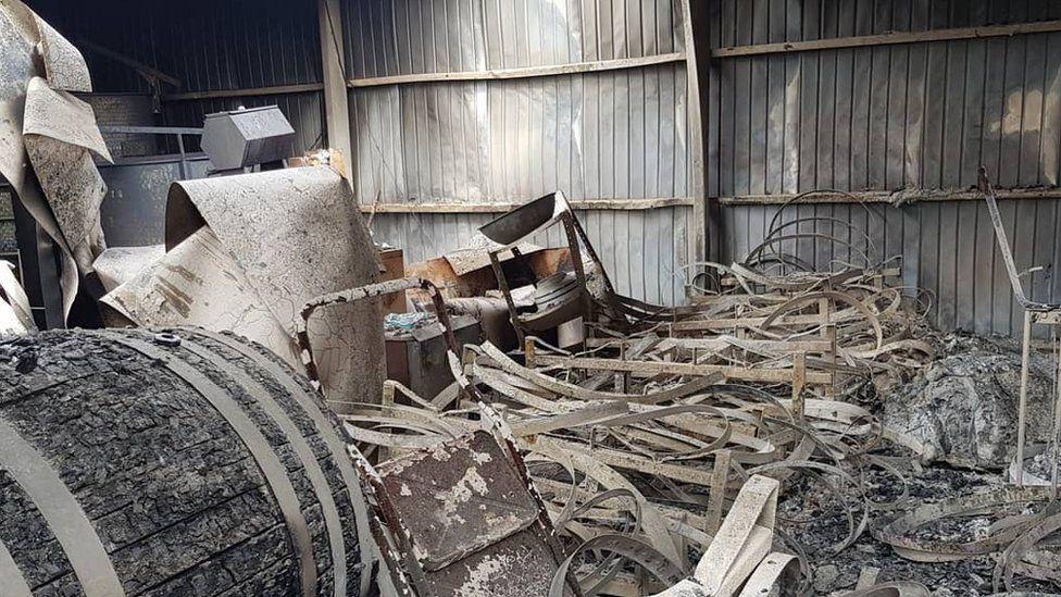 Damage at James Tilbrook's winery. Adelaide Hills, SA