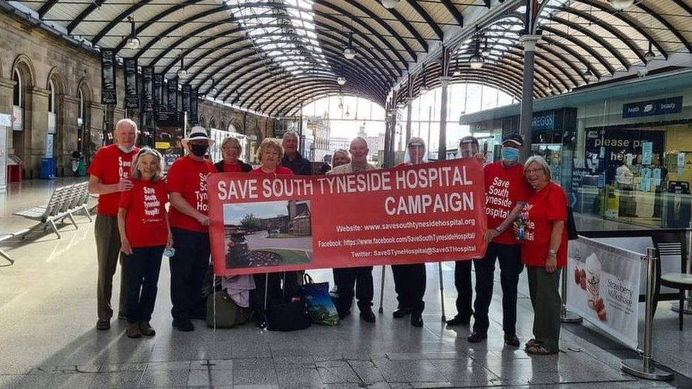 Save South Tyneside Hospital campaigners at Newcastle Central Station