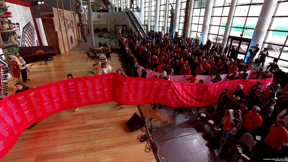 Volunteers unfurl a scroll inscribed with the names of 2,800 victims of Canada's residential schools.