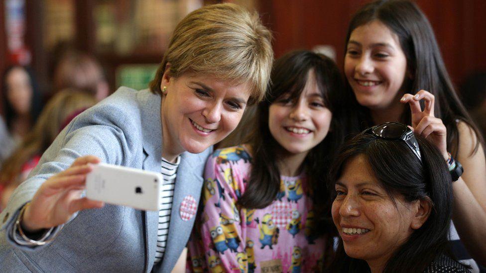 First Minister Nicola Sturgeon takes a selfie