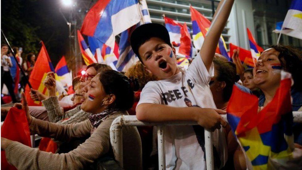 Supporters of Uruguay's presidential candidate Daniel Martinez react, in Montevideo, Uruguay October 27, 2019