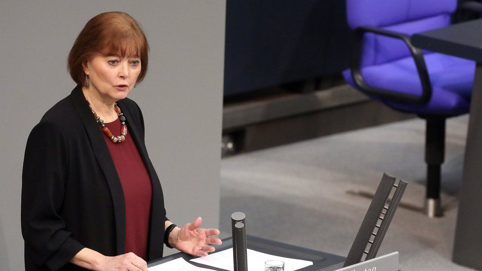 Sigrid Falkenstein, niece of Holocaust victim Anna Lehnkering, murdered in 1940 in the Grafeneck death camp, speaks during an hour of commemoration at the Bundestag