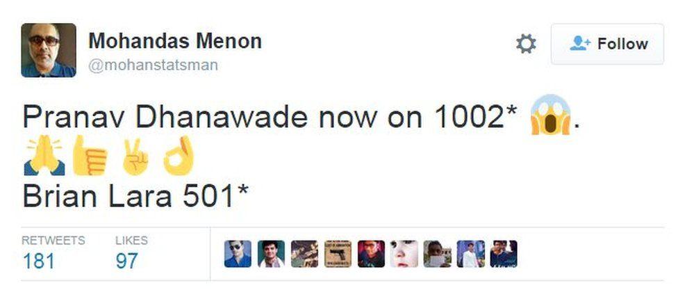 Pranav Dhanawade now on 1002* 😱.